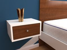 Mesa de luz minimalista. Bed Rooms, Floating Nightstand, Shelves, Furniture, Home Decor, Bedside Desk, Lights, Amor, Mesas De Luz