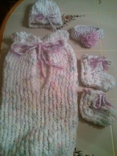 loom and crochet baby girl cocoon set