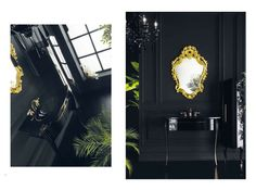 Topex Armadi Art Cristallo Black & Gold Bath Vanity From Our Avantgarde Collection! Black And Gold Bathroom, Bath Vanities, Oversized Mirror, Swarovski Crystals, Vanity, Black Gold, Collection, Decor, Art