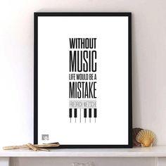 Friedrich Nietzsche Quote life music print poster typography art. Modern design digital art home wall decor A3 Pink Orange