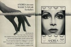 1971 Beauty Ad, Andrea Wash 'n Wear Fake Eyelashes (2-page advert) | von classic_film