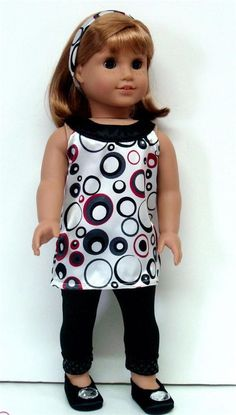 "A-LINE DRESS + LEGGINGS - 18"" Girl Doll Clothes - An American Boutique fits 18dolls"