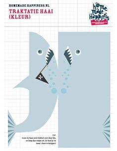Stoere haaien-traktatie van Ratna » Homemade Happiness - Knutsel zelf de leukste kinderfeestjes! Kant en klare KnipBoeken en printbare knipvellen