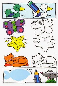 Maestra de Infantil: Fichas a color de Prematemáticas. Actividades de Lógicomatemáticas para infantil Cartoon Coloring Pages, Colouring Pages, Learning Colors, Kids Learning, Kindergarten Fun, Activity Sheets, Teaching Materials, Craft Activities For Kids, Painting For Kids