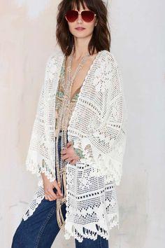 Somedays Lovin Big Wave Crochet Kimono - Kimono