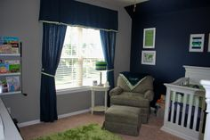 Grey Nursery With One Navy Wall Blue Curtains Don T Look So Bad