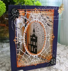 Stamping with Bibiana: Trio of Halloween Cards! Triangular Diorama for… Halloween Diorama, Halloween Paper Crafts, Halloween Items, Halloween Cards, Holidays Halloween, Halloween Iii, Whimsical Halloween, Halloween Greetings, Halloween Scrapbook