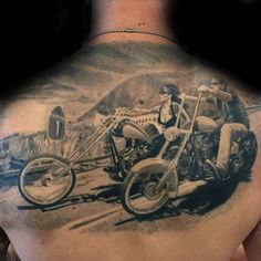 Harley-Davidson owners tend to love their bike with unmatched devotion, these Harley-Davidson tattoos prove that to a T. See the gallery here! Harley Tattoos, Harley Davidson Tattoos, Biker Tattoos, Motorcycle Tattoos, Motorcycle Art, Skull Tattoos, Tatoos, Upper Back Tattoos, Back Tattoos For Guys