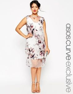 74b0be5dd91fa ... wedding guest outfit fun flirty floral print casual. See more. ASOS  CURVE SALON Shift Dress with Organza Overlay in Lily Print Size 16 Fashion