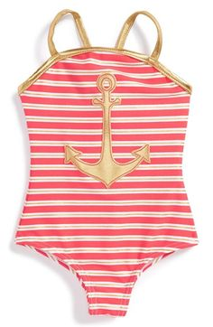 Free shipping and returns on Love U Lots One-Piece Swimsuit (Baby Girls) at Nordstrom.com. Shimmery metallic stripes and a nautical appliqué enliven a cross-back one-piece swimsuit made with built-in UPF 50+ to help protect her delicate skin from the sun's rays.