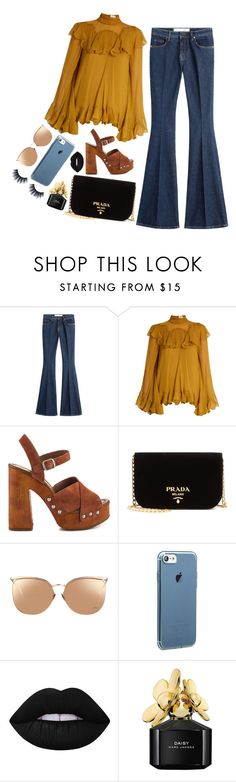 """Holding in the tears to keep my mascara from running"" by samarinara ❤ liked on Polyvore featuring dVb Victoria Beckham, Chloé, Lucky Brand, Prada, Linda Farrow, Lime Crime, Marc Jacobs and Huda Beauty"
