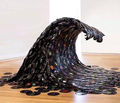Sound Wave by #jeanshins via @streetartglobe #vinyl #wave #surf #art #installation #extreme #notomorrow