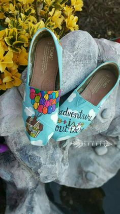 Disney Pixar UP Custom painted TOMS Canvas Shoes *Free shipping* Pixar toms | UP toms shoes | disney | carl ellie | adventure is out there by HopeTodayStudio on Etsy https://www.etsy.com/listing/227413255/disney-pixar-up-custom-painted-toms