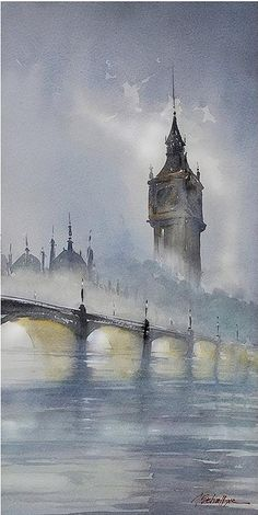 Thomas Schaller Shares His Artistry and Passion for Watercolor THIS > Intuition, Emotion and Expressiveness in Watercolor. Artwork by Thomas Schaller Art Gallery, Watercolor Art, Art Painting, Landscape Paintings, Cityscape, Thomas Schaller, Painting, Watercolor Landscape Paintings, Beautiful Art