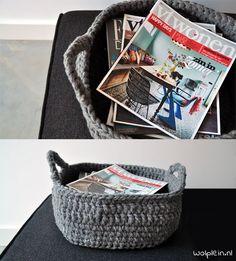 Pimp jouw interieur met deze mooie manden! Je kunt zo\'n mand breien of haken en de grootte zelf bepalen. Je vindt de patronen nu op de blog van Wolplein.nl!