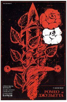 "Russian Poster for the musical ""Romeo and Juliette"". William Shakespeare, Romeo And Juliet Poster, Gravity Art, Cold War Propaganda, Romeo Y Julieta, Beautiful Landscape Wallpaper, Kunst Poster, Flower Phone Wallpaper, Art Thou"