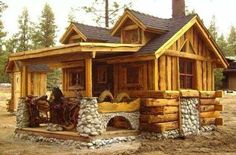 Small log cabin with rock accents