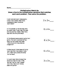 Match the correct equation to the given multiplication word problem.