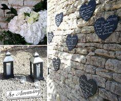 Plan de table ardoise - Idées décoration florale cocktail, vin d'honneur - Décoration de mariage argenté & blanc, gris anthracite, gris perl...