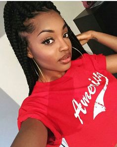 Hoop earrings box braids