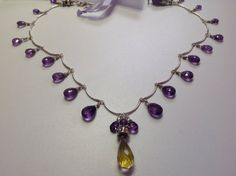 Amethyst faceted teardrop stones wire wrapped by BlkBttrflyDsgns, $250.00