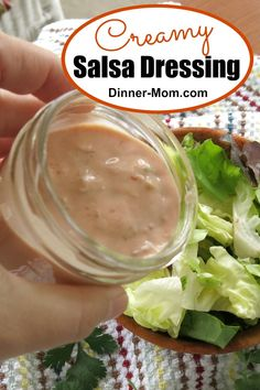 AMAZING Creamy Salsa Dressing has just 2 Ingredients! Perfect for salads rice bowls nachos and even chips! AMAZING Creamy Salsa Dressing has just 2 Ingredients! Perfect for salads rice bowls nachos and even chips! Best Salad Recipes, Chicken Salad Recipes, Copycat Recipes, Chicken Pasta, Dip Recipes, Healthy Chicken, Recipies, Mexican Salad Dressings, Salad Dressing Recipes