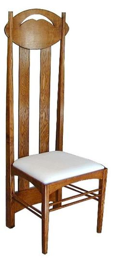 The Argyle, Side Chair for Argyle Street Tea Rooms. By Charles Rennie Mackintosh, 1897, the earliest of his high backed chairs.