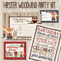 Printable Hipster Woodland Animals  Birthday Party Kit - Emmie Cakes on Etsy $15