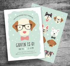 Puppy Party Invitation Puppy Birthday Invitation Puppy Invitation