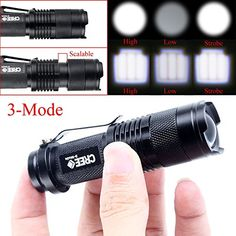XY ZONE Mini 1200LM CREE Q5 Zoomable LED Flashlight Hiking Torch Lamp Black 3 Modes -- This is an Amazon Affiliate link. Check this awesome product by going to the link at the image.