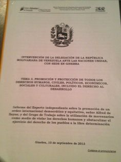 Statement by about my report to the United Nations ( Human Rights Council - Page 1 United Nations Human Rights, Human Rights Council, This Or That Questions, Socialism, Venezuela, United Nations