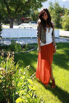 maxi skirt & leopard jacket