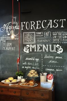 Menu on a chalkboard at Salt House Inn, Remodelista     Hanging task light, no over head shelving