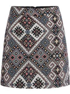 Multicolor Slim Geometric Print Skirt