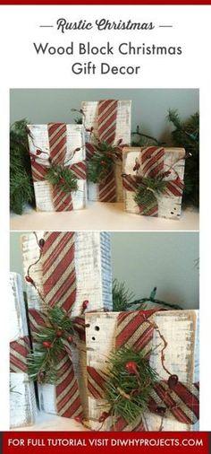 DIY Rustic Christmas Decor, Farmhouse Style Rustic Wood Block Christmas Gifts, #rusticdecor #christmasdecor #FarmhouseChristmas