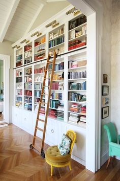 Home Library Room Study Built Ins Ideas For 2019 Floor To Ceiling Bookshelves, Library Bookshelves, Library Ladder, Library Room, Bookshelf Ideas, Bookcases, Bookcase With Ladder, White Bookshelves, Bookshelf Design