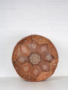 Moroccan Leather Tile Design Pouffe, Tan - Moroccan Pouffes - Interiors