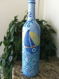 "Hand painted wine bottle ""The great Escape"". $15.00, via Etsy."