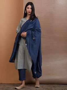 Grey Chanderi Silk Kurta with Slip, Navy Blue Cotton Silk Pants and Embroidered Dupatta - Set of 3 Silk Kurti Designs, Kurta Designs Women, Kurti Designs Party Wear, Blouse Designs, Dress Indian Style, Indian Dresses, Pakistani Dresses, Indian Outfits, Indian Attire
