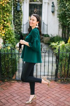 """My holiday style is festive but unexpected. What could be better than fancy pants (with a stretchy waistband!) and a chic, comfortable statement blouse?"""""""