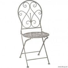 J-Line Grijze metalen opplooibare stoel plooibaar rond krullen in grijs metaal