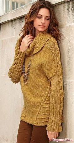Элегантный силуэт этого свитера подчеркнут несложными, но эффектными узорами. Размеры 38/40, 42/44 и 46/48 Вам потребуется