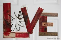 Love from wood pieces. all attached....do small and use wire heart for 'o'