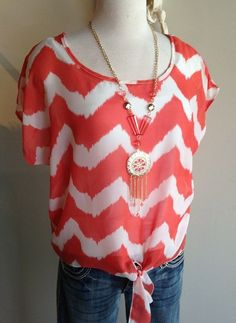 $32 - Coral short-sleeve chevron tie blouse...with the turquoise accessories