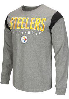Pitt Steelers Mens Grey Receiver Tee
