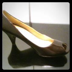Mossimo Patent brown peep toe pumps.                   Brand new no tags size 7 wide Shoes