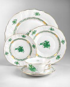 Herend Chinese Bouquet Dinnerware, Green - Neiman Marcus
