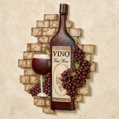 Decorating Kitchen Vino Italiano Wine and Grapes Wall Plaque - Wine Theme Kitchen, Grape Kitchen Decor, Kitchen Themes, Kitchen Ideas, Kitchen Design, Wine Corker, Wine Wall Decor, Tuscan Design, Tuscan Decorating