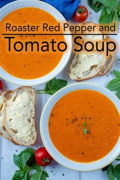 This rich, bright and creamy soup is packed full of vegetables and so easy to make, that you will never open a tin of soup again. & ready for autumn and winter by making a big batch of this comforting and healthy Roasted Red Pepper and Tomato Soup Roasted Red Pepper Soup, Roasted Red Peppers, Tomato Red Pepper Soup, Roasted Tomato Soup, Roasted Vegetable Soup, Tomato Soup Recipes, Healthy Soup Recipes, Tomato Soups, Tomato Bisque Soup