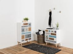 Cabinet cu 11 sertare Thais Colours #homedecor #homedesign #interiordfesign 3 Drawer Chest, Chest Of Drawers, Ladder Decor, Kids Rugs, Shelves, House Design, Cabinet, Retro, Entryway